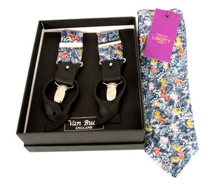 Balearic Liberty Print Tie & Trouser Braces Set