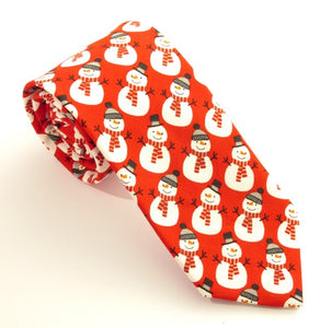 Red Snowman Cotton Christmas Tie by Van Buck