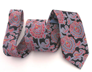 Navy Blue & Red Ornate Silk Tie by Van Buck