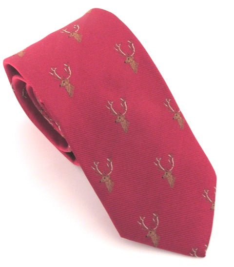 Red Stag Head Country Silk Tie
