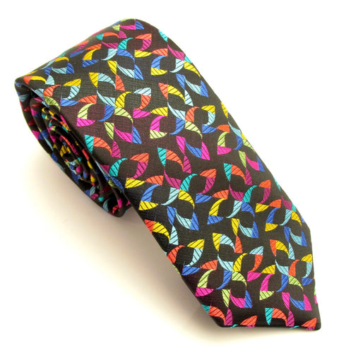 Limited Edition Black with Multicoloured Kaleidoscope Silk Tie by Van Buck