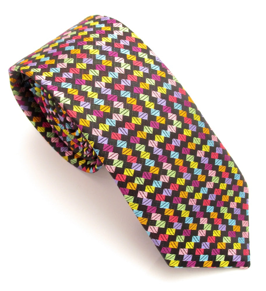 Limited Edition Black with Multicoloured Small Blocks Silk Tie by Van Buck