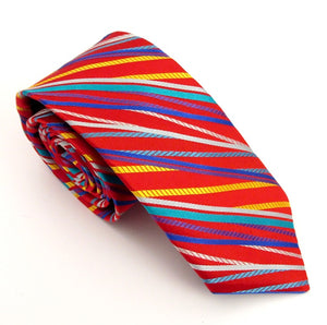 Limited Edition Red with Multicoloured Stiped Silk Tie by Van Buck