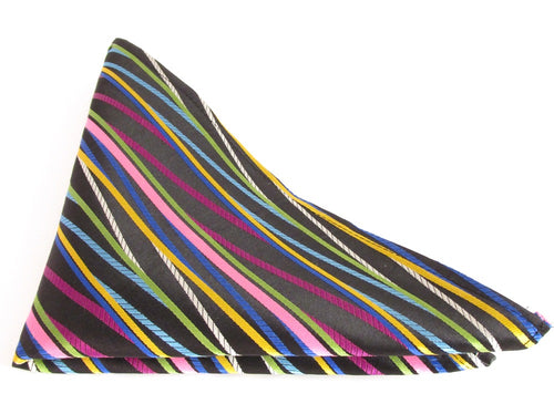Limited Edition Black with Multicoloured Stripe Pocket Square by Van Buck