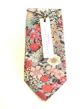 Ciara Grey Cotton Tie Made with Liberty Fabric