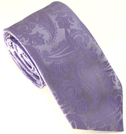 Lilac Paisley Wedding Tie By Van Buck