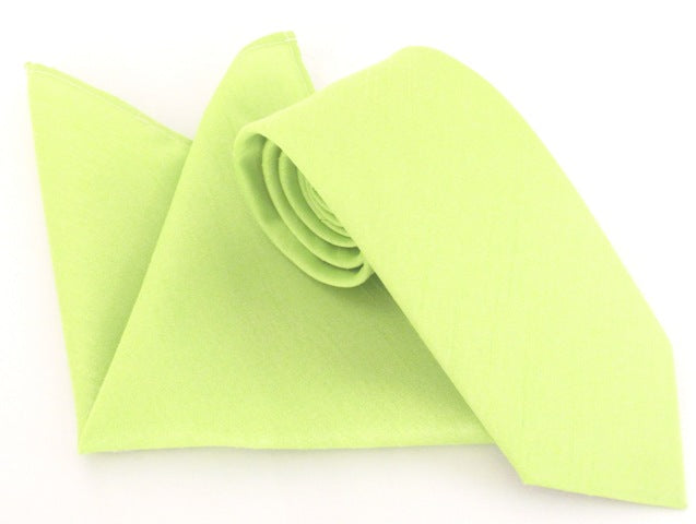 Van Buck Slub Plain Lime Tie and Pocket Square Set