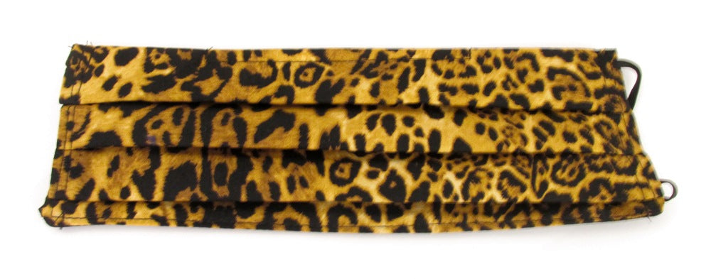 Leopard Print Cotton Pleated Face Covering / Mask