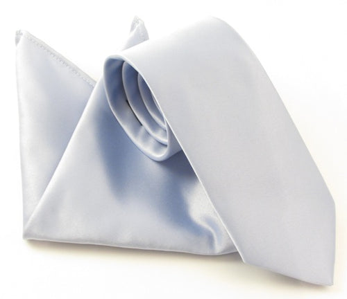 Van Buck Satin Plain Mill Blue Tie and Pocket Square Set