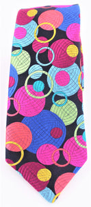 Van Buck Limited Edition Exclusive Multicoloured Bubbles Silk Tie - front