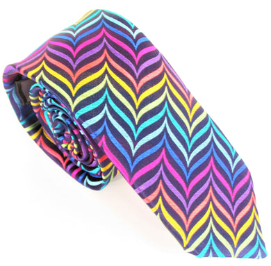Van Buck Limited Edition Exclusive Navy with Multicoloured Herringbone Silk Tie