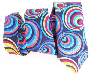Van Buck Limited Edition Exclusive Multicoloured Hoops Silk Tie - wavy