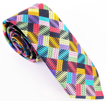 Van Buck Limited Edition Exclusive Multicoloured Patchwork Squares Silk Tie