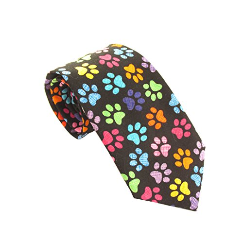 Multicoloured Paw Print Cotton Tie by Van Buck