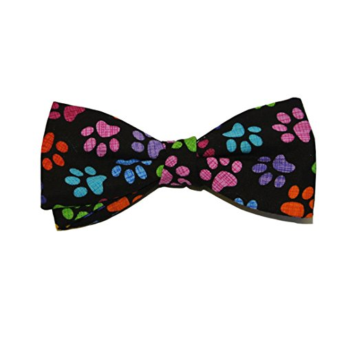 Multicoloured Paw Print Cotton Pre-Tied Bow by Van Buck