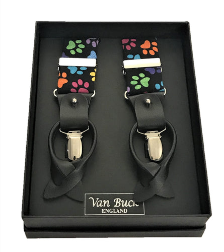 Multi Paw Print Party Trouser Braces by Van Buck