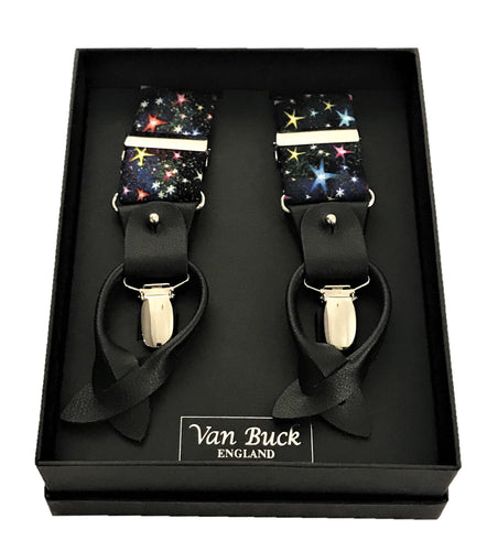 Multi Stars Party Trouser Braces by Van Buck