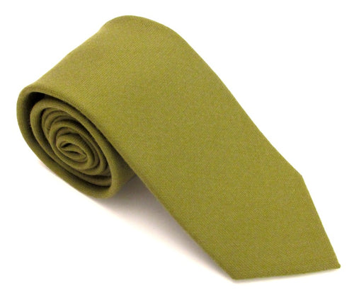 Moss Green Plain Wool Tie by Van Buck