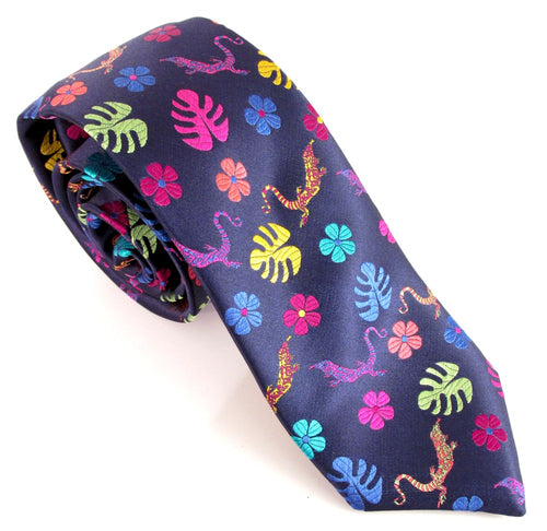 Limited Edition Navy Blue with Multicoloured Lizard Silk Tie by Van Buck