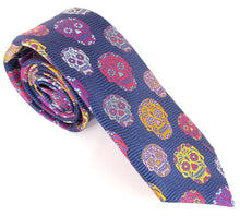 Limited Edition Navy with Orange Multicoloured Skull Silk Tie & Trouser Braces Set