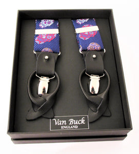 Limited Edition Navy with Orange Multicoloured Skull Silk Braces
