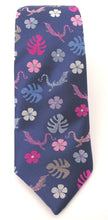 Limited Edition Navy Blue with Pink Lizard Silk Tie by Van Buck