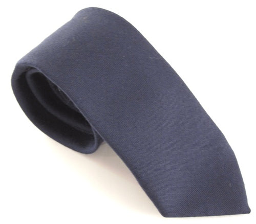 Navy Blue Plain Wool Tie by Van Buck