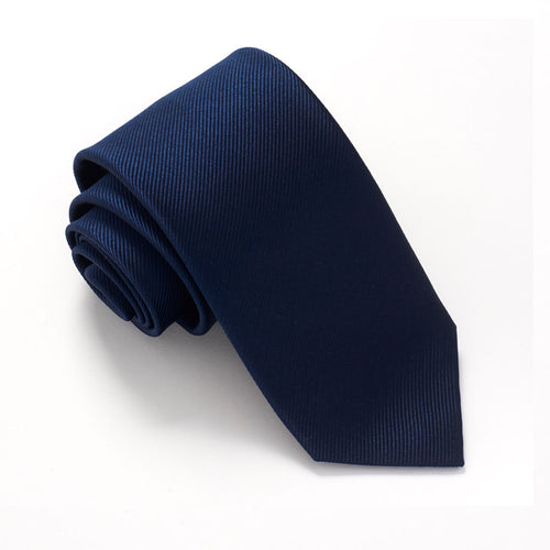 Navy Blue Plain Red Label Silk Tie by Van Buck