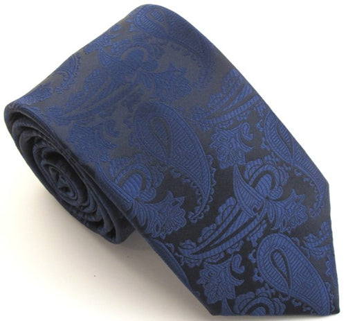 Navy Blue Paisley Wedding Tie By Van Buck