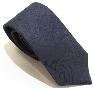 Navy Blue Paisley Silk Wedding Tie By Van Buck
