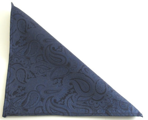 Navy Blue Paisley Silk Pocket Square by Van Buck