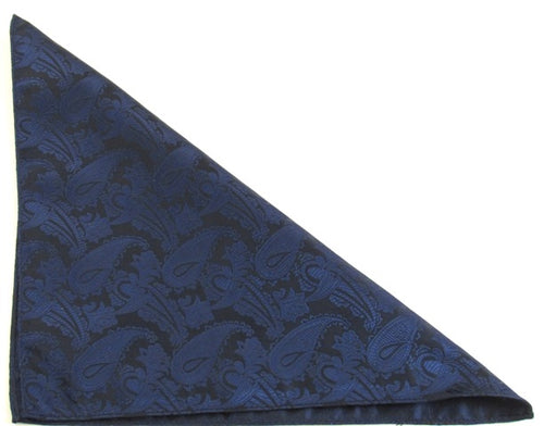 Navy Blue Paisley Pocket Square by Van Buck