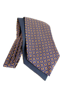 Navy Blue with Small Brown Neat Paisley Fancy Silk Cravat by Van Buck
