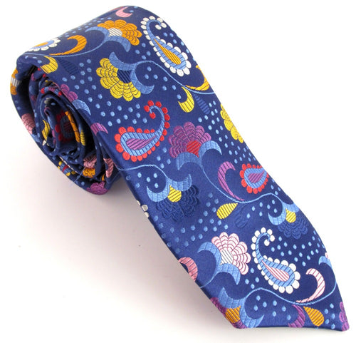 Limited Edition Detailed Navy Blue Paisley Silk Tie by Van Buck