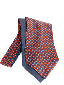 Navy Blue with Small Orange Neat Paisley Fancy Silk Cravat by Van Buck
