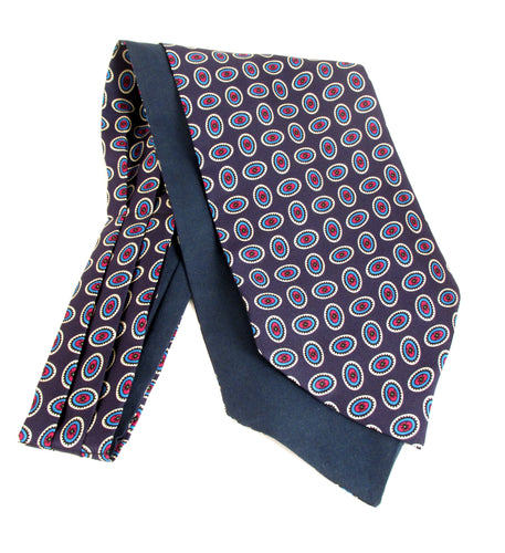 Navy Blue with Neat Ovals Fancy Silk Cravat by Van Buck
