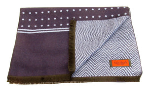 Navy Blue Herringbone and Spot Reversible Scarf & Stripe Socks Gift Set