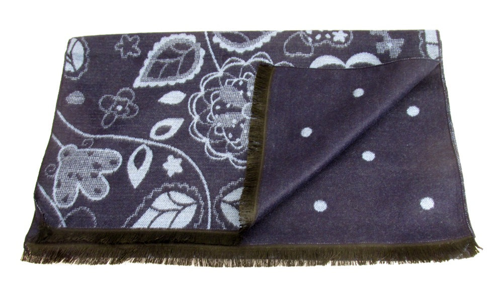 Navy and Sky Blue Reversible scarf with A Floral and Spot Design