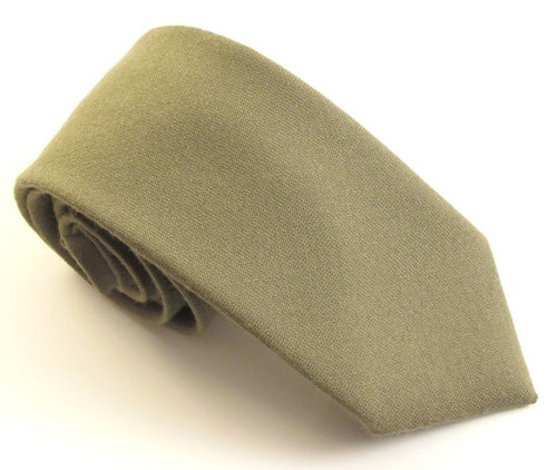 Olive Green Plain Wool Tie by Van Buck