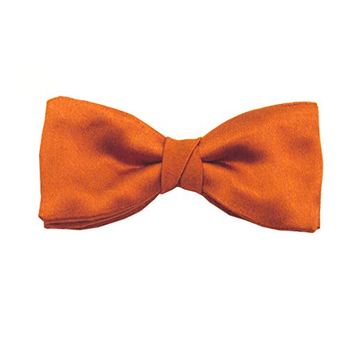 Orange Soho Plain Silk Pre-Tied Bow by Van Buck