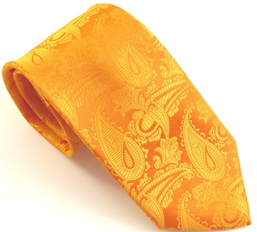 Orange Paisley Wedding Tie By Van Buck
