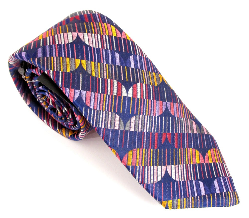 Limited Edition Navy Blue with Orange Circles & Lines Silk Tie by Van Buck