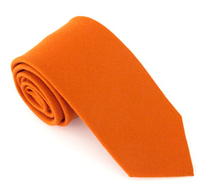 Orange Plain Wool Tie by Van Buck