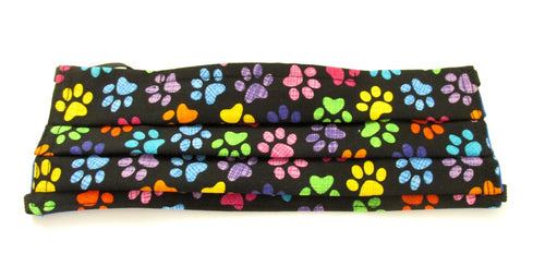 Face Mask Pleated Multi-Coloured Paw Prints