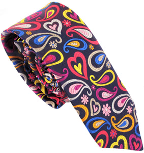 Van Buck Limited Edition Exclusive Pastel Multicoloured Tear & Heart Silk Tie