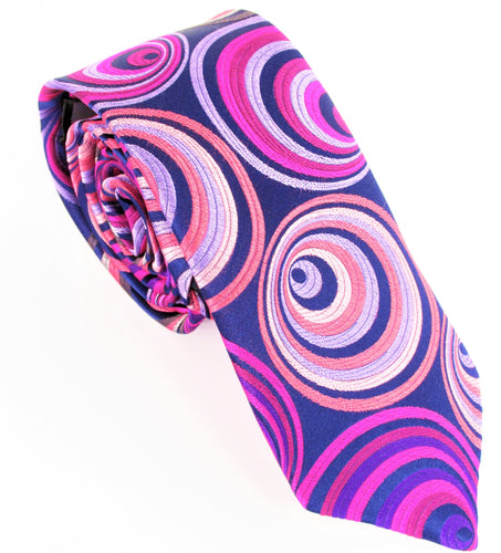 Van Buck Limited Edition Exclusive Pink Hoops Silk Tie