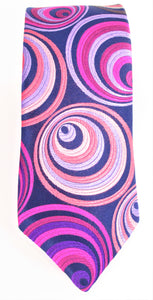 Van Buck Limited Edition Exclusive Pink Hoops Silk Tie - front