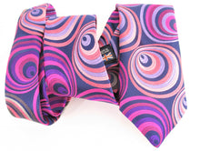 Van Buck Limited Edition Exclusive Pink Hoops Silk Tie - wavy