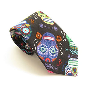 Day of the Dead Fancy Skull Cotton Tie by Van Buck