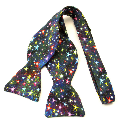 Small Multicoloured Stars Self-Tied Bow by Van Buck